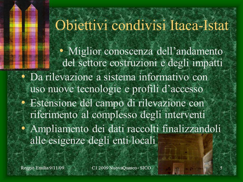 Reggio Emilia 9/11/09C1 2009 NuovaQuasco - SICO5 Obiettivi condivisi Itaca-Istat Miglior conoscenza dellandamento del settore costruzioni e degli impa