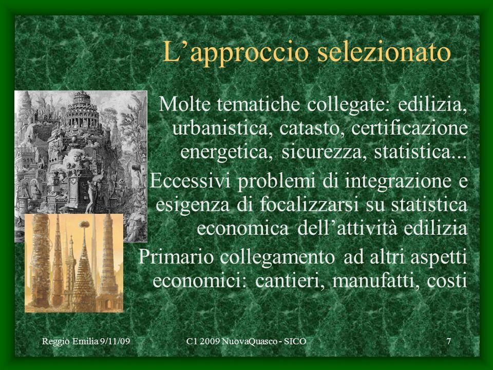 Reggio Emilia 9/11/09C1 2009 NuovaQuasco - SICO7 Lapproccio selezionato Molte tematiche collegate: edilizia, urbanistica, catasto, certificazione energetica, sicurezza, statistica...