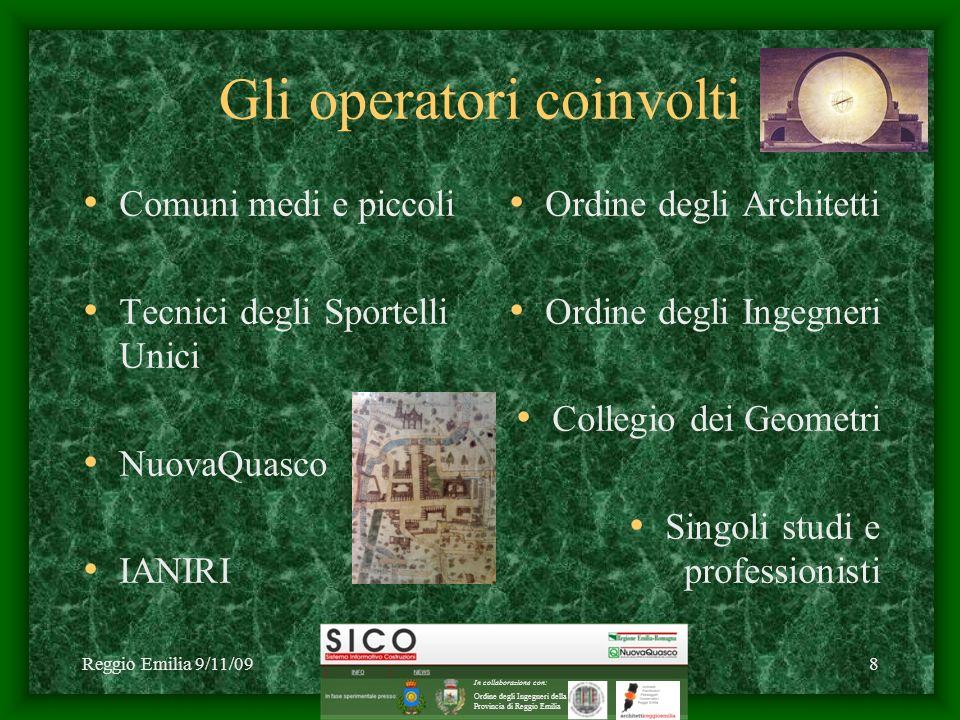 Reggio Emilia 9/11/09C1 2009 NuovaQuasco - SICO8 Gli operatori coinvolti Comuni medi e piccoli Tecnici degli Sportelli Unici NuovaQuasco IANIRI Ordine