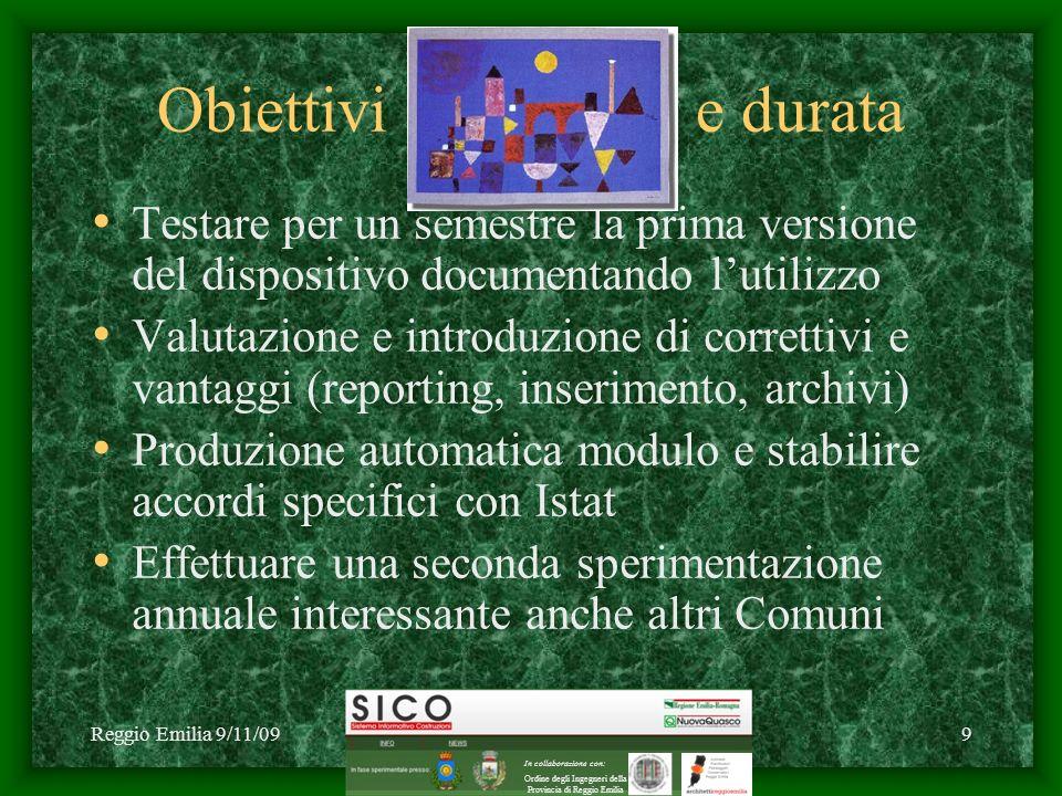 Reggio Emilia 9/11/09C1 2009 NuovaQuasco - SICO9 Obiettivi e durata Testare per un semestre la prima versione del dispositivo documentando lutilizzo V