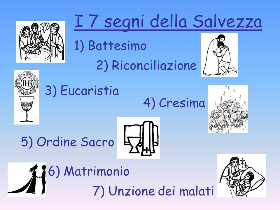 I 7 segni della Salvezza 1) Battesimo 2) Riconciliazione 3) Eucaristia 4) Cresima 5) Ordine Sacro 6) Matrimonio 7) Unzione dei malati