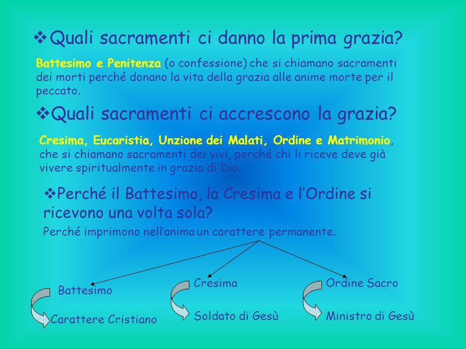 Quali sacramenti ci danno la prima grazia? Battesimo e Penitenza (o confessione) che si chiamano sacramenti dei morti perché donano la vita della graz