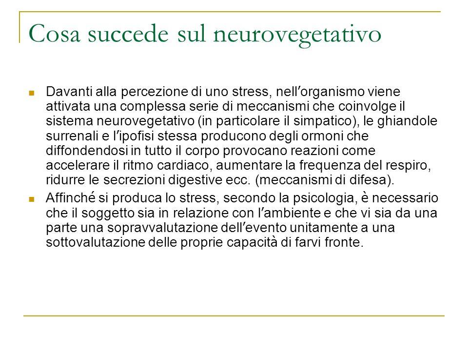 Cosa succede sul neurovegetativo Davanti alla percezione di uno stress, nell organismo viene attivata una complessa serie di meccanismi che coinvolge