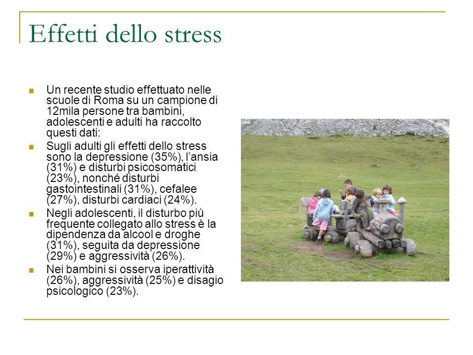 Effetti dello stress Un recente studio effettuato nelle scuole di Roma su un campione di 12mila persone tra bambini, adolescenti e adulti ha raccolto