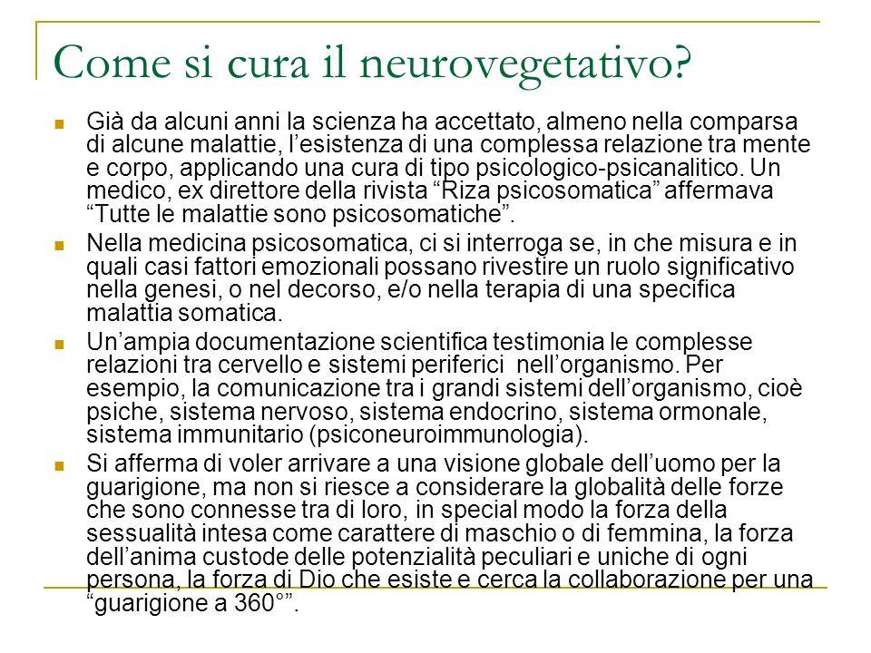 Come si cura il neurovegetativo? Già da alcuni anni la scienza ha accettato, almeno nella comparsa di alcune malattie, lesistenza di una complessa rel