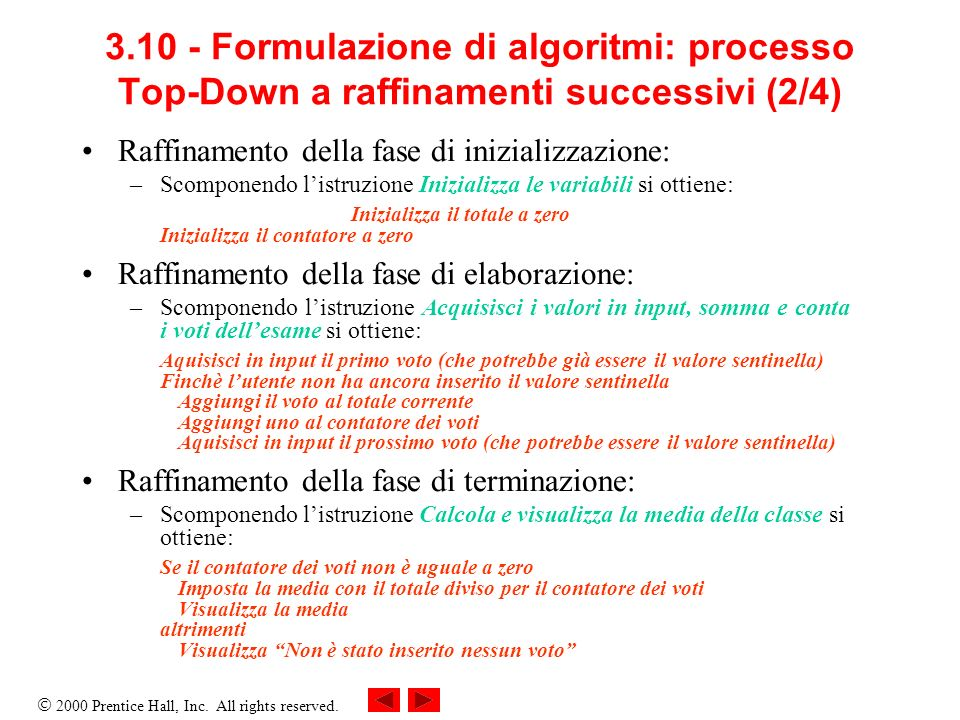 2000 Prentice Hall, Inc. All rights reserved. 3.10 - Formulazione di algoritmi: processo Top-Down a raffinamenti successivi (2/4) Raffinamento della f