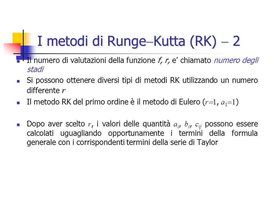 I metodi di Runge Kutta (RK) 2 Il numero di valutazioni della funzione f, r, e chiamato numero degli stadi Si possono ottenere diversi tipi di metodi