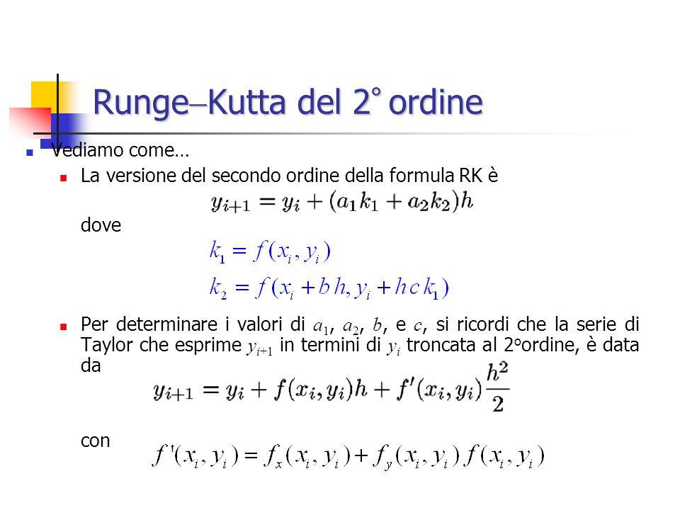 Runge Kutta del 2 ° ordine Vediamo come… La versione del secondo ordine della formula RK è dove Per determinare i valori di a 1, a 2, b, e c, si ricor