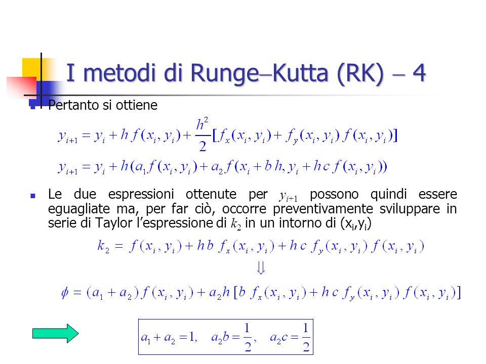 I metodi di Runge Kutta (RK) 4 Pertanto si ottiene Le due espressioni ottenute per y i+1 possono quindi essere eguagliate ma, per far ciò, occorre pre
