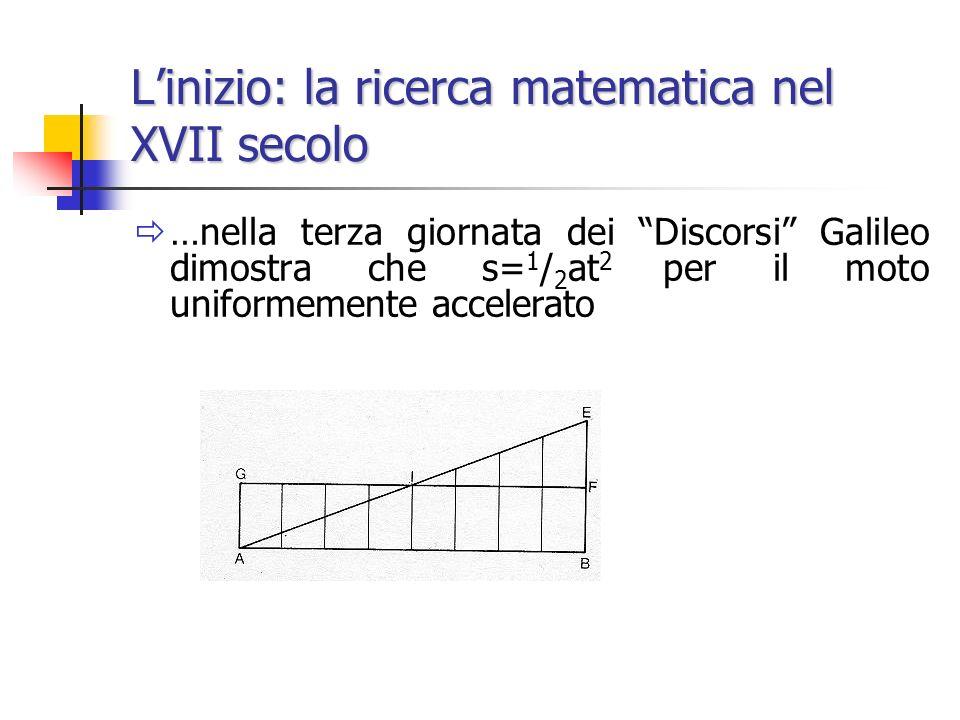 Linizio: la ricerca matematica nel XVII secolo …nella terza giornata dei Discorsi Galileo dimostra che s= 1 / 2 at 2 per il moto uniformemente acceler