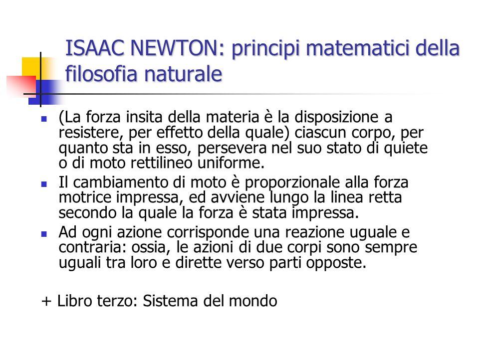 ISAAC NEWTON: principi matematici della filosofia naturale (La forza insita della materia è la disposizione a resistere, per effetto della quale) cias