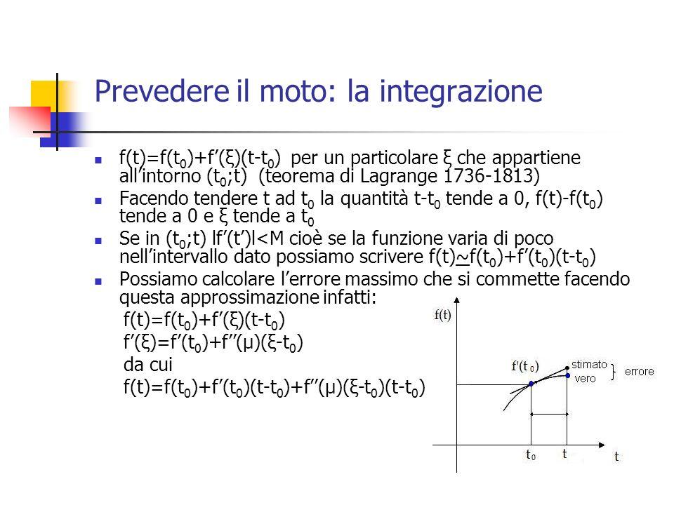 Prevedere il moto: Newton (1687), il personal computer (1984) e noi (2011) 1) a=-(GM/r 3 )r, r i, v i 2) v f =v i +a i (t f -t i ) 3) r f =r i +v i (t f -t i ) 4) assegna a r i il valore r f e a v i il valore v f 5) ricomincia dal punto 2) In questo modo si producono le tre successioni {r i }, {v i }, {a i } che rappresentano rispettivamente le funziono r=r(t), v=v(t), a=a(t) ai tempo t i Questa approssimazione non è stabile dal punto di vista fisico perché non conserva lenergia del sistema e può essere corretta, ad esempio, da un algoritmo che sostituisca il passo 3) con il passo 3 bis) r f =r i +(v f +v i )(t f -t i )/2 Metodi diversi ed anche più sofisticati di integrazione non implicano complessità di calcolo superiori a quelle individuate da questo algoritmo.