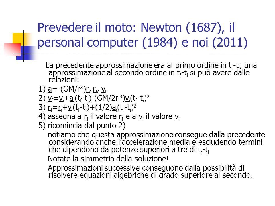 Prevedere il moto: vari ordini di approssimazione per il calcolo del moto armonico in Pascal PRIMO ORDINE VXf:=VXi+up*Xi*dt; Xf:=Xi+VXi*dt; SECONDO ORDINE VXf:=VXi+up*Xi*dt+0.5*up*VXi*sqr(dt); Xf:=Xi+VXi*dt+0.5*up*Xi*sqr(dt); TERZO ORDINE VXf:=VXi+up*Xi*dt+0.5*up*VXi*sqr(dt)+(1/6)*sqr(up)*Xi*dt*s qr(dt); Xf:=Xi+VXi*dt+0.5*up*Xi*sqr(dt)+(1/6)*up*VXi*dt*sqr(dt); QUARTO ORDINE VXf:=VXi+up*Xi*dt+0.5*up*VXi*sqr(dt)+(1/6)*sqr(up)*Xi*dt*s qr(dt)+(1/24)*sqr(up)*VXi*sqr(sqr(dt)); Xf:=Xi+VXi*dt+0.5*up*Xi*sqr(dt)+(1/6)*up*VXi*dt*sqr(dt)+ (1/24)*sqr(up)*Xi*sqr(sqr(dt));