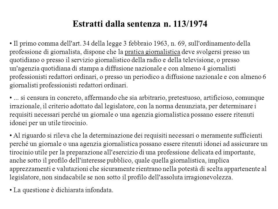 Estratti dalla sentenza n. 113/1974 Il primo comma dell'art. 34 della legge 3 febbraio 1963, n. 69, sull'ordinamento della professione di giornalista,