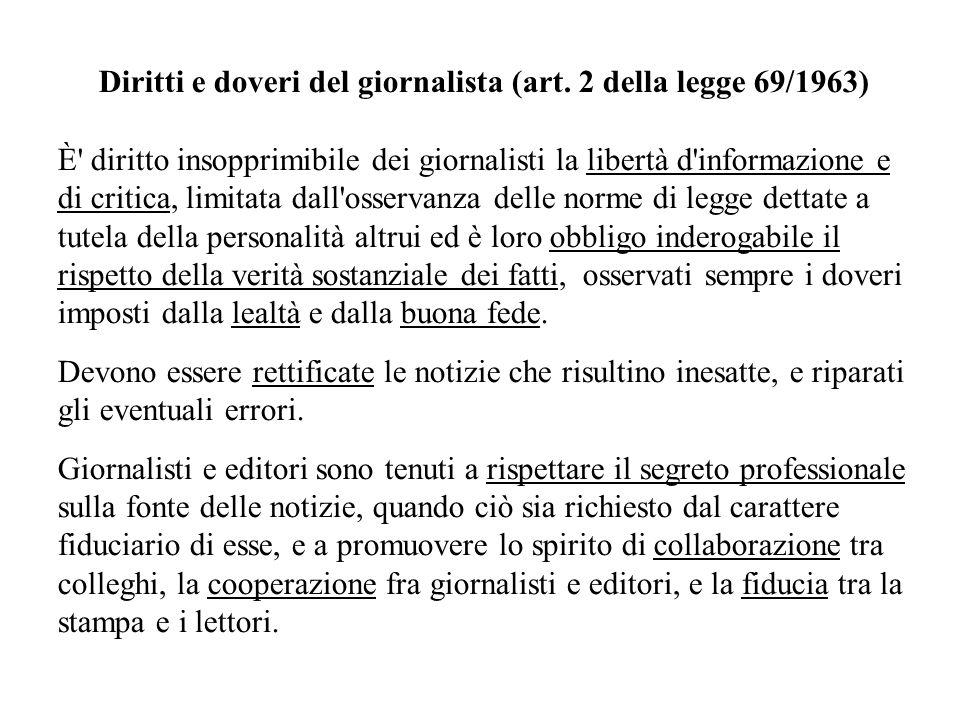 Diritti e doveri del giornalista (art. 2 della legge 69/1963) È' diritto insopprimibile dei giornalisti la libertà d'informazione e di critica, limita