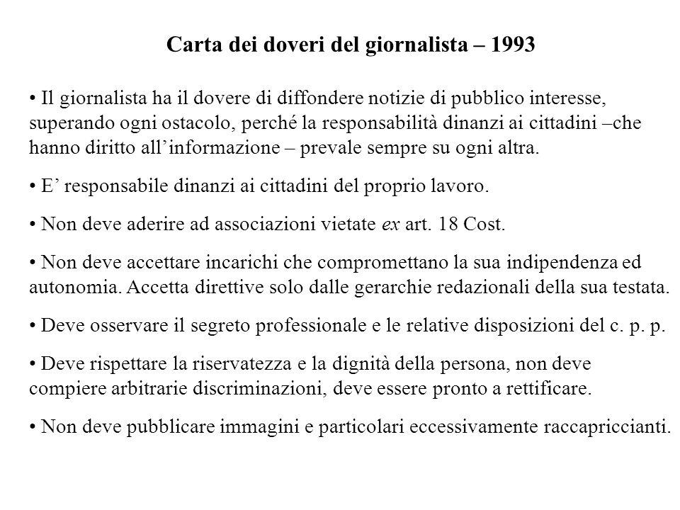 Carta dei doveri del giornalista – 1993 Il giornalista ha il dovere di diffondere notizie di pubblico interesse, superando ogni ostacolo, perché la re