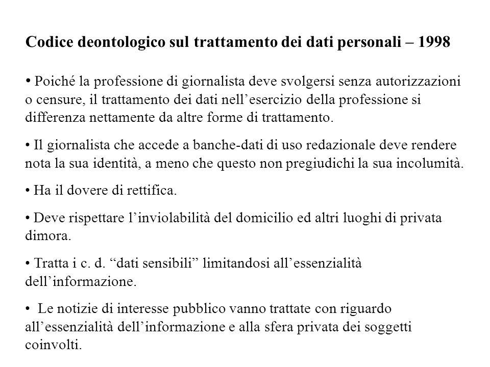 Codice deontologico sul trattamento dei dati personali – 1998 Poiché la professione di giornalista deve svolgersi senza autorizzazioni o censure, il t