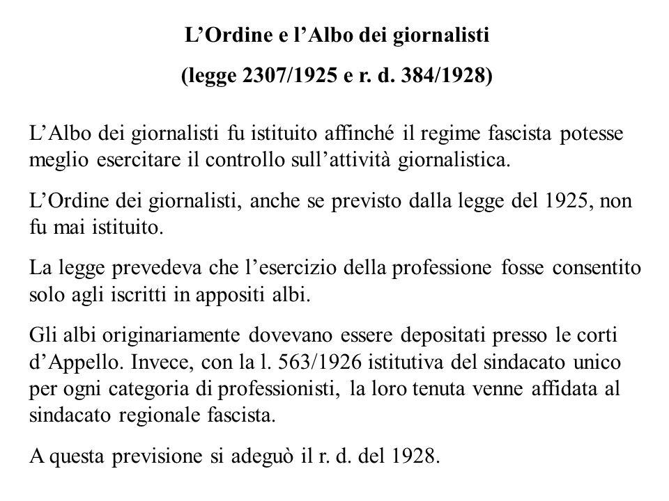 (legge 2307/1925 e r. d. 384/1928) LAlbo dei giornalisti fu istituito affinché il regime fascista potesse meglio esercitare il controllo sullattività