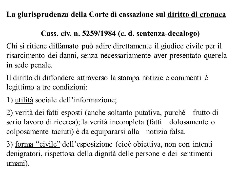 La giurisprudenza della Corte di cassazione sul diritto di cronaca Cass. civ. n. 5259/1984 (c. d. sentenza-decalogo) Chi si ritiene diffamato può adir