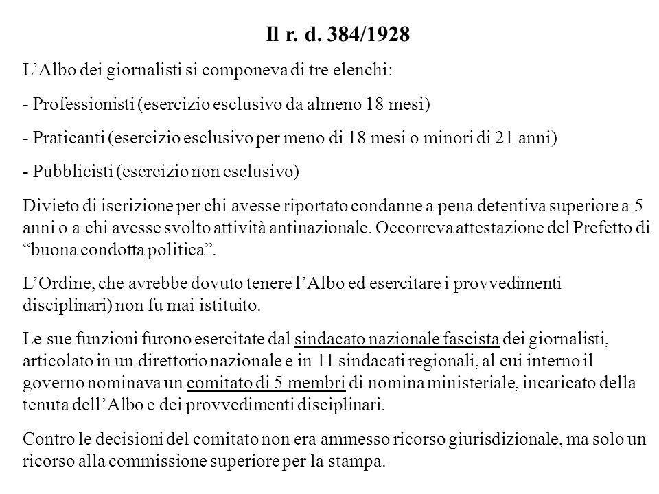 Il r. d. 384/1928 LAlbo dei giornalisti si componeva di tre elenchi: - Professionisti (esercizio esclusivo da almeno 18 mesi) - Praticanti (esercizio
