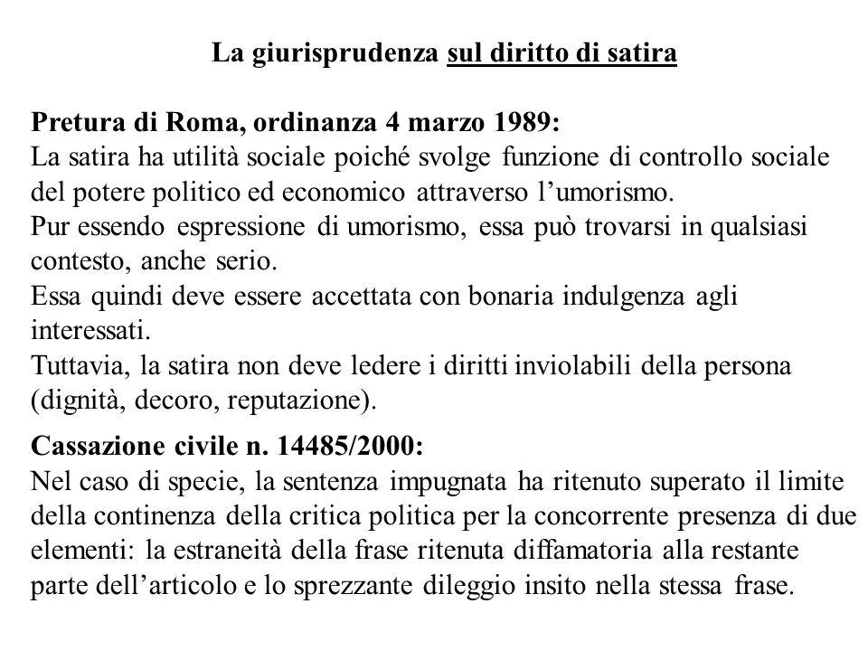 La giurisprudenza sul diritto di satira Pretura di Roma, ordinanza 4 marzo 1989: La satira ha utilità sociale poiché svolge funzione di controllo soci
