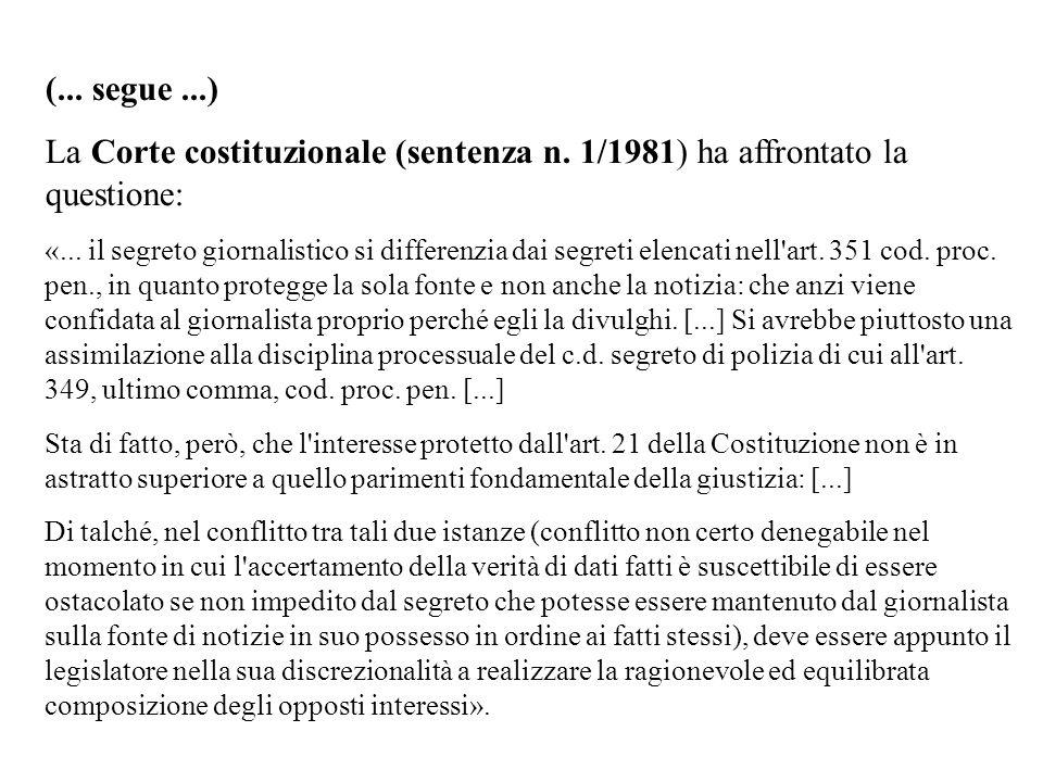 (... segue...) La Corte costituzionale (sentenza n. 1/1981) ha affrontato la questione: «... il segreto giornalistico si differenzia dai segreti elenc