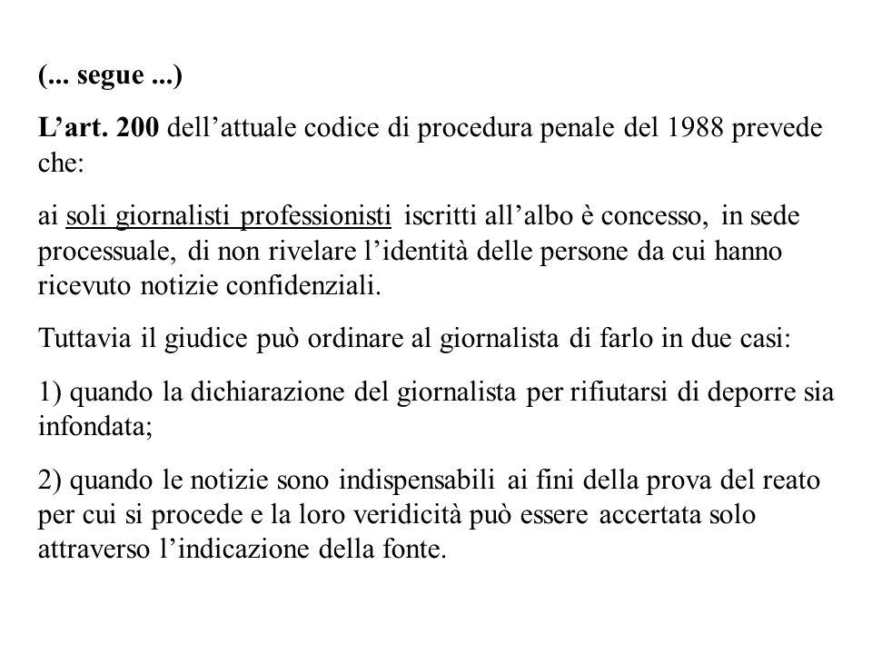 (... segue...) Lart. 200 dellattuale codice di procedura penale del 1988 prevede che: ai soli giornalisti professionisti iscritti allalbo è concesso,