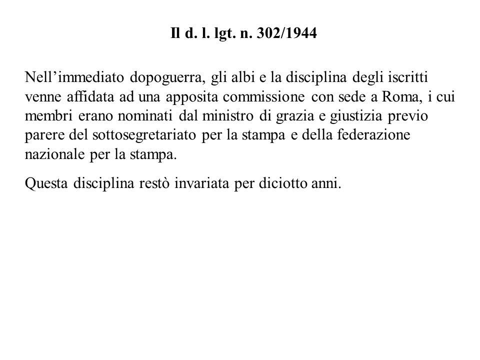 Il d. l. lgt. n. 302/1944 Nellimmediato dopoguerra, gli albi e la disciplina degli iscritti venne affidata ad una apposita commissione con sede a Roma
