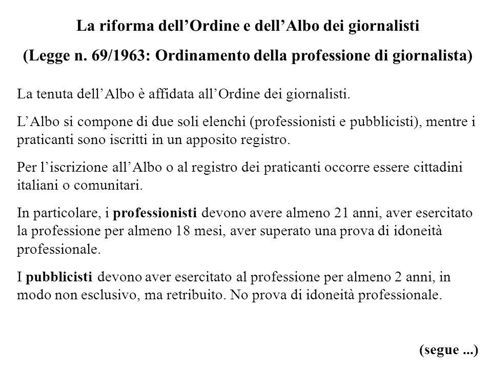 La riforma dellOrdine e dellAlbo dei giornalisti (Legge n. 69/1963: Ordinamento della professione di giornalista) La tenuta dellAlbo è affidata allOrd