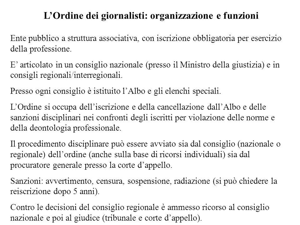 LOrdine dei giornalisti: organizzazione e funzioni Ente pubblico a struttura associativa, con iscrizione obbligatoria per esercizio della professione.