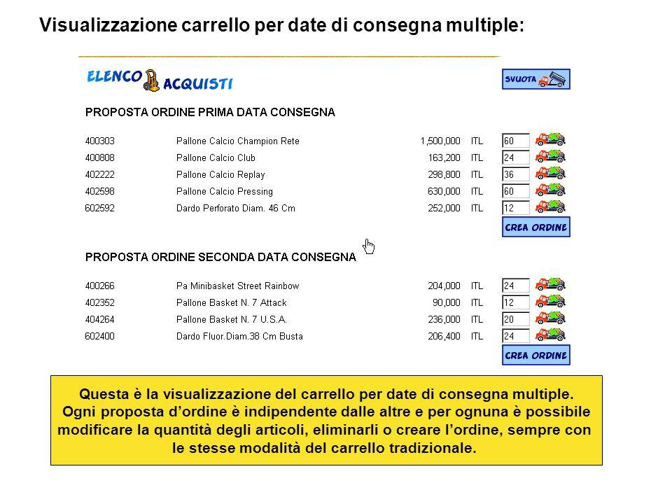 Visualizzazione carrello per date di consegna multiple: Questa è la visualizzazione del carrello per date di consegna multiple.