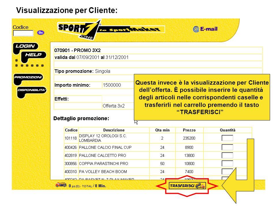 Visualizzazione per Cliente: Questa invece è la visualizzazione per Cliente dellofferta.
