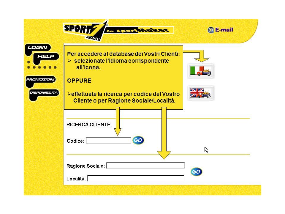 Per accedere al database dei Vostri Clienti: selezionate lidioma corrispondente allicona.