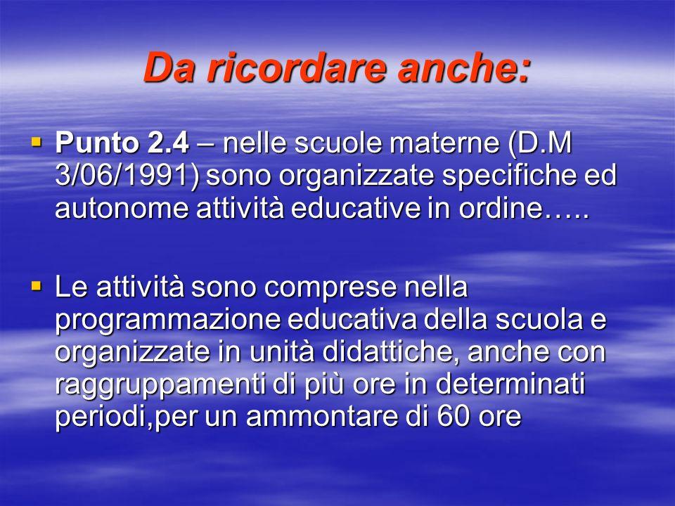 Da ricordare anche: Punto 2.4 – nelle scuole materne (D.M 3/06/1991) sono organizzate specifiche ed autonome attività educative in ordine….. Punto 2.4