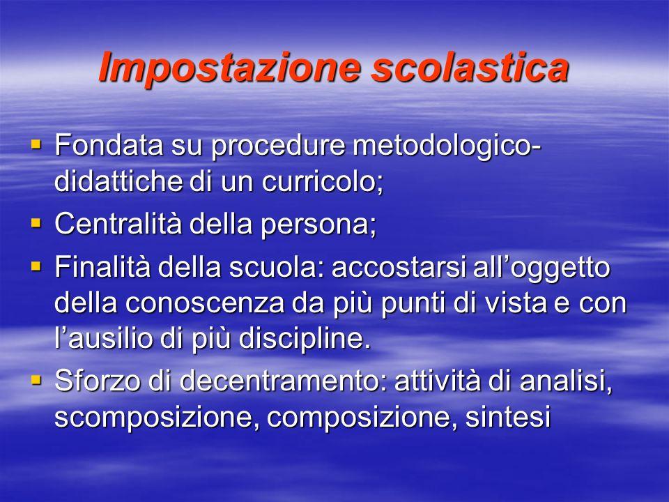 Impostazione scolastica Fondata su procedure metodologico- didattiche di un curricolo; Fondata su procedure metodologico- didattiche di un curricolo;
