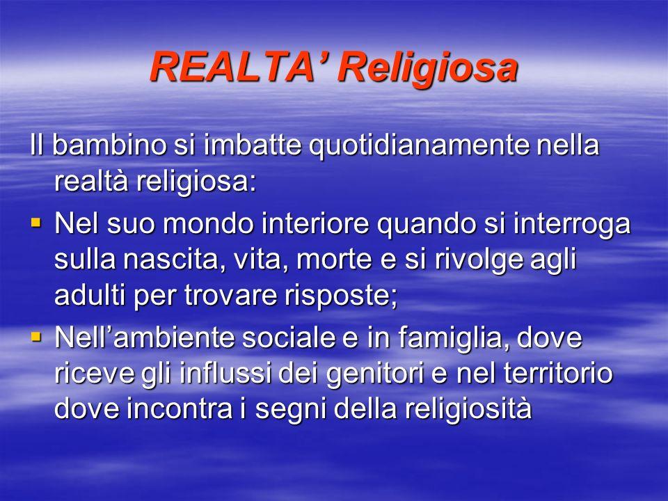 REALTA Religiosa Il bambino si imbatte quotidianamente nella realtà religiosa: Nel suo mondo interiore quando si interroga sulla nascita, vita, morte