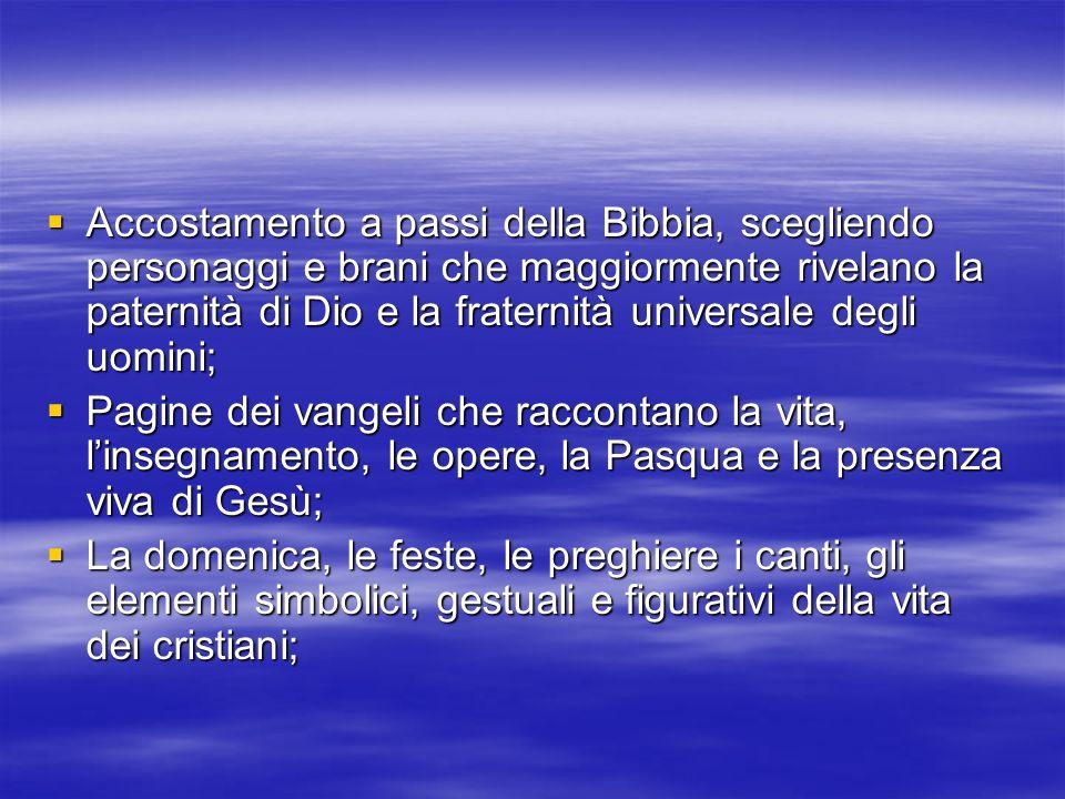 Accostamento a passi della Bibbia, scegliendo personaggi e brani che maggiormente rivelano la paternità di Dio e la fraternità universale degli uomini