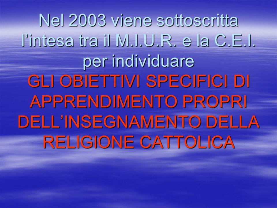 Nel 2003 viene sottoscritta lintesa tra il M.I.U.R. e la C.E.I. per individuare GLI OBIETTIVI SPECIFICI DI APPRENDIMENTO PROPRI DELLINSEGNAMENTO DELLA
