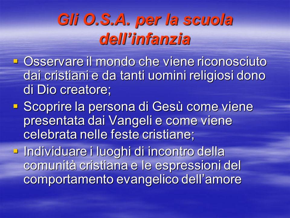 Gli O.S.A. per la scuola dellinfanzia Osservare il mondo che viene riconosciuto dai cristiani e da tanti uomini religiosi dono di Dio creatore; Osserv