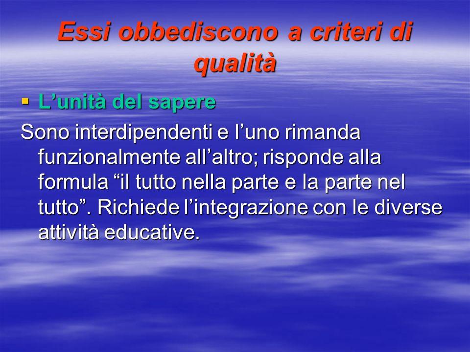 Essi obbediscono a criteri di qualità Lunità del sapere Lunità del sapere Sono interdipendenti e luno rimanda funzionalmente allaltro; risponde alla f