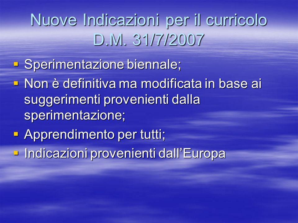 Nuove Indicazioni per il curricolo D.M. 31/7/2007 Sperimentazione biennale; Sperimentazione biennale; Non è definitiva ma modificata in base ai sugger