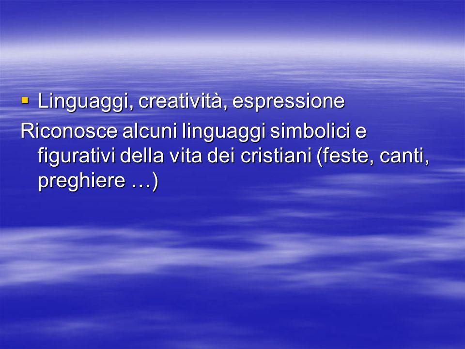 Linguaggi, creatività, espressione Linguaggi, creatività, espressione Riconosce alcuni linguaggi simbolici e figurativi della vita dei cristiani (feste, canti, preghiere …)