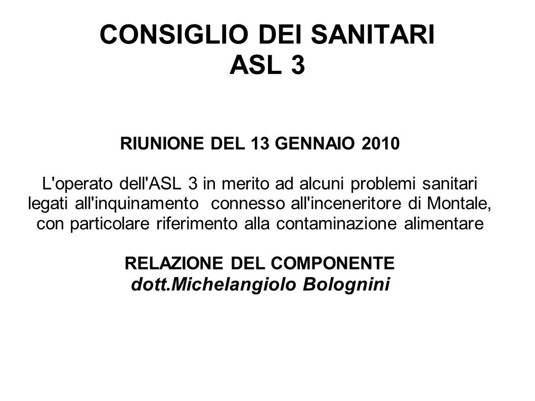 CONSIGLIO DEI SANITARI ASL 3 RIUNIONE DEL 13 GENNAIO 2010 L'operato dell'ASL 3 in merito ad alcuni problemi sanitari legati all'inquinamento connesso