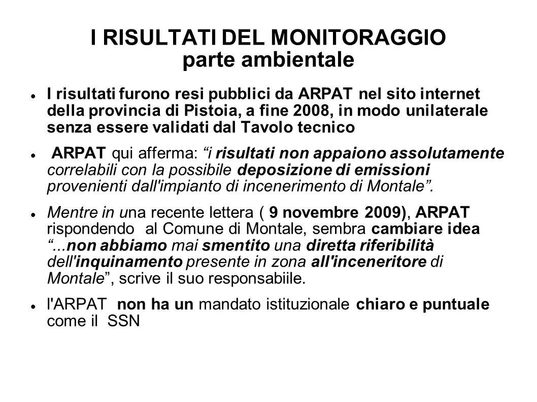 I RISULTATI DEL MONITORAGGIO parte ambientale I risultati furono resi pubblici da ARPAT nel sito internet della provincia di Pistoia, a fine 2008, in