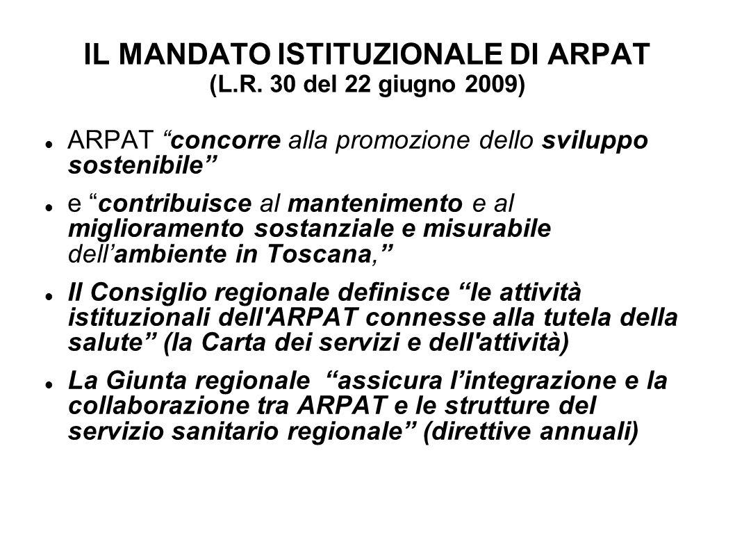 IL MANDATO ISTITUZIONALE DI ARPAT (L.R. 30 del 22 giugno 2009) ARPAT concorre alla promozione dello sviluppo sostenibile e contribuisce al manteniment