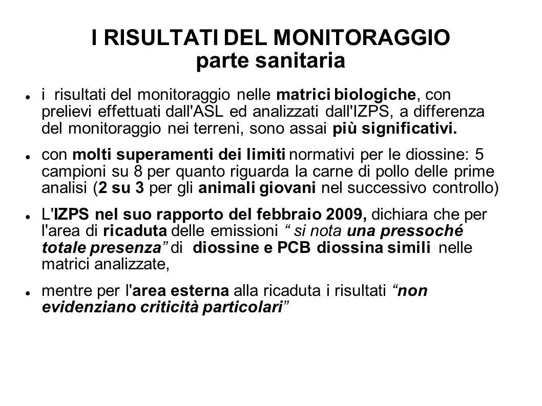 I RISULTATI DEL MONITORAGGIO parte sanitaria i risultati del monitoraggio nelle matrici biologiche, con prelievi effettuati dall'ASL ed analizzati dal