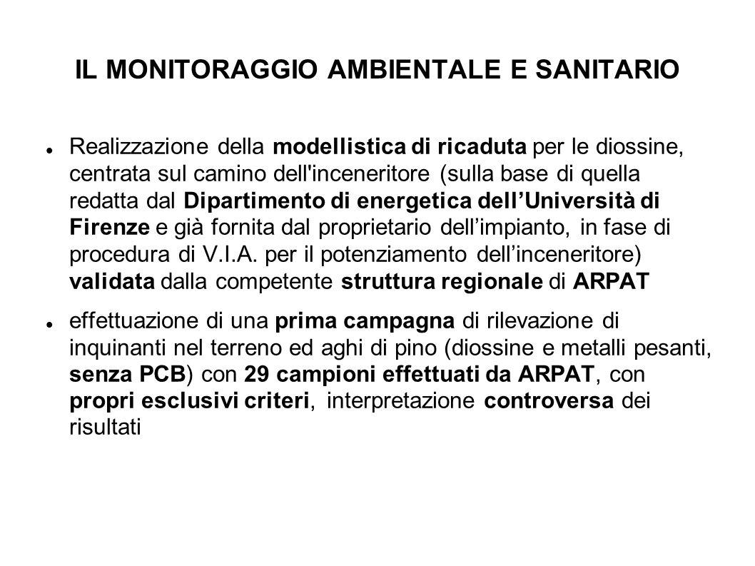 I RISULTATI DEL MONITORAGGIO parte ambientale I prelievi dei terreni furono effettuati da ARPAT con criteri assai opinabili (per es.