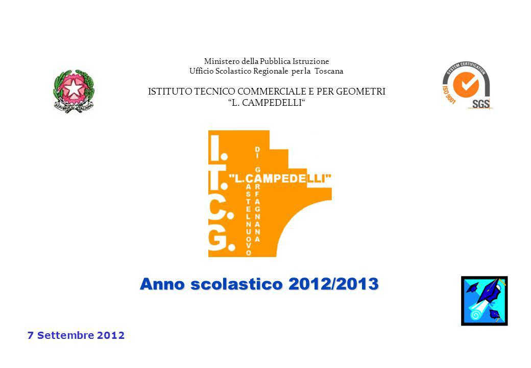 Anno scolastico 2012/2013 7 Settembre 2012 Ministero della Pubblica Istruzione Ufficio Scolastico Regionale per la Toscana ISTITUTO TECNICO COMMERCIALE E PER GEOMETRI L.
