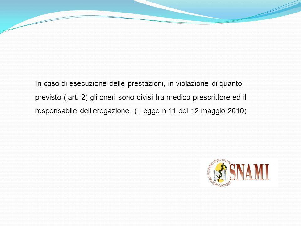 In caso di esecuzione delle prestazioni, in violazione di quanto previsto ( art. 2) gli oneri sono divisi tra medico prescrittore ed il responsabile d