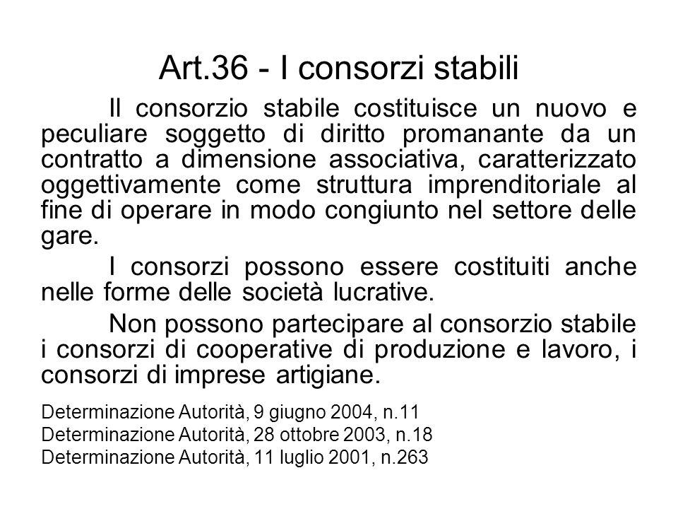 Art.36 - I consorzi stabili Il consorzio stabile costituisce un nuovo e peculiare soggetto di diritto promanante da un contratto a dimensione associat